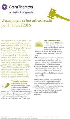 Wijzigingen in het arbeidsrecht per 1 januari 2016